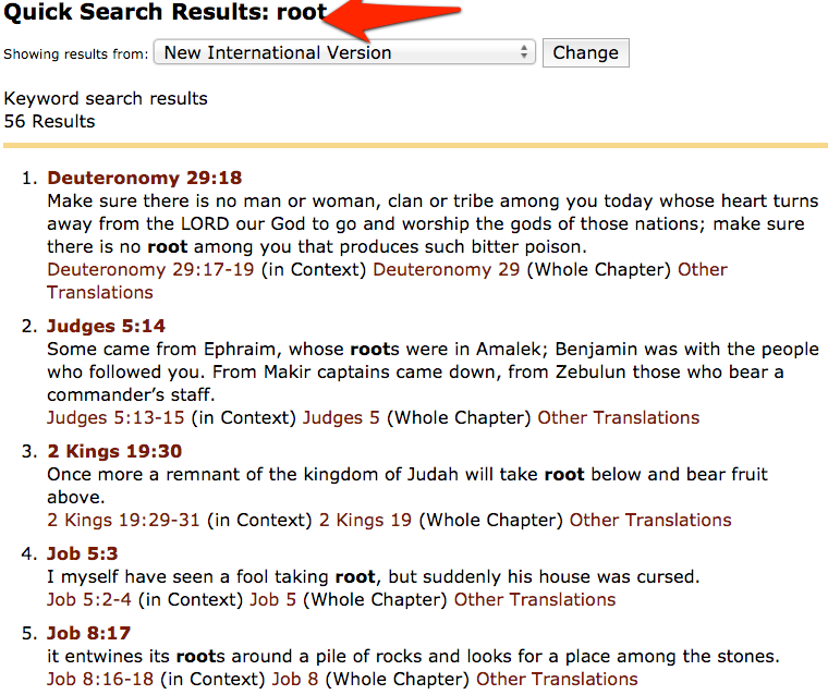 bible search for one word