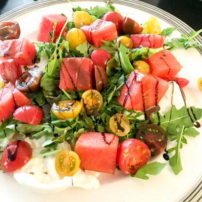 Watermelon, Tomato & Arugula Salad