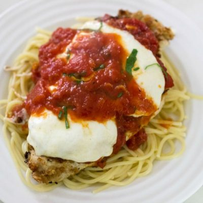 chicken parmesan over noodles