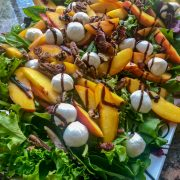 Platter of stone fruit salad with balsamic
